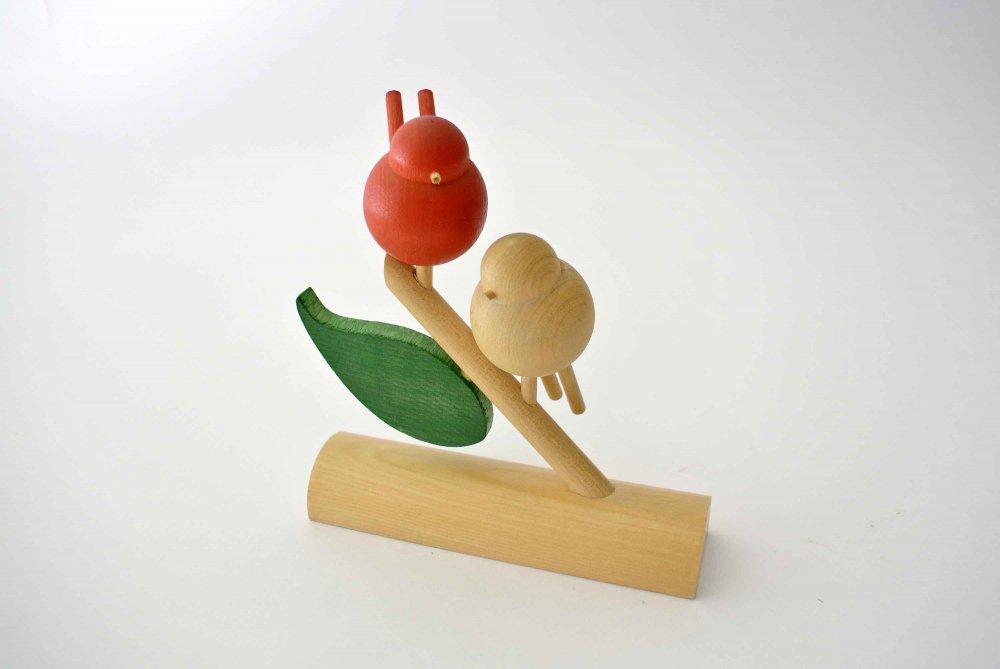 aarikka アーリッカ まんまる小鳥が2匹の止まり木オブジェ( 赤×ナチュラル) vintage