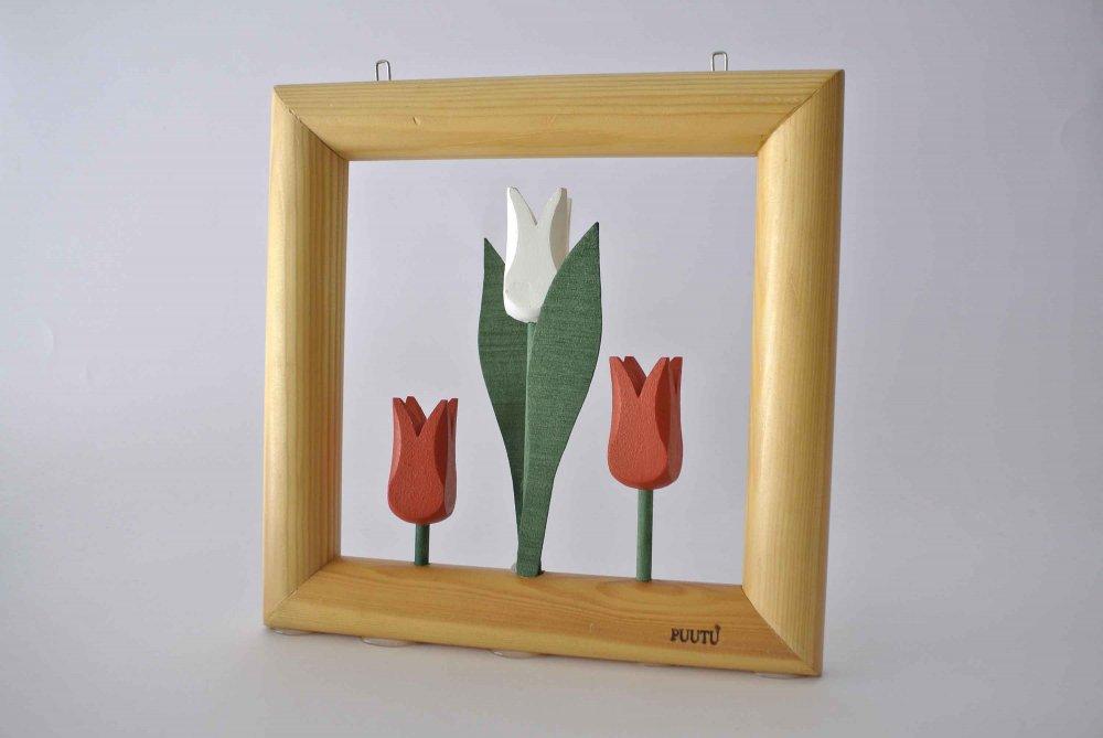 "PUUTU ""wooden flower object"" 3つ仲良く並んだチューリップの壁掛けオブジェ (赤×白) FINLAND"