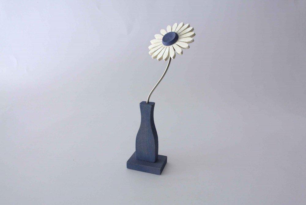 "Nedholm ""Wooden Flower Object"" マーガレットのお花のオブジェ SWEDEN(ブルー×ホワイト)  S"