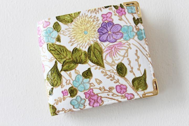 【姫革・白なめし革】 二つ折り財布 <盛り花・ピンク>