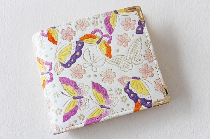 【姫革・白なめし革】 二つ折り財布 <蝶・ピンク>