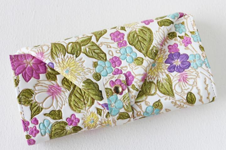 【姫革・白なめし革】 ギャルソン財布 <盛り花・ピンク>