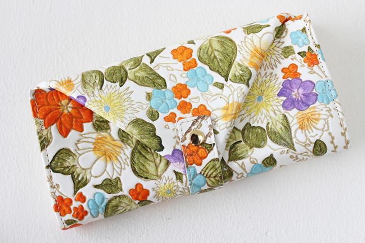 ギャルソン財布 <盛り花・オレンジ