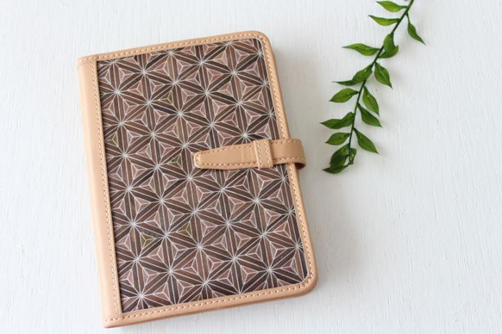 手帳/ブックカバー(A6・文庫フリーサイズ)<八重麻の葉・茶×ナチュラル>