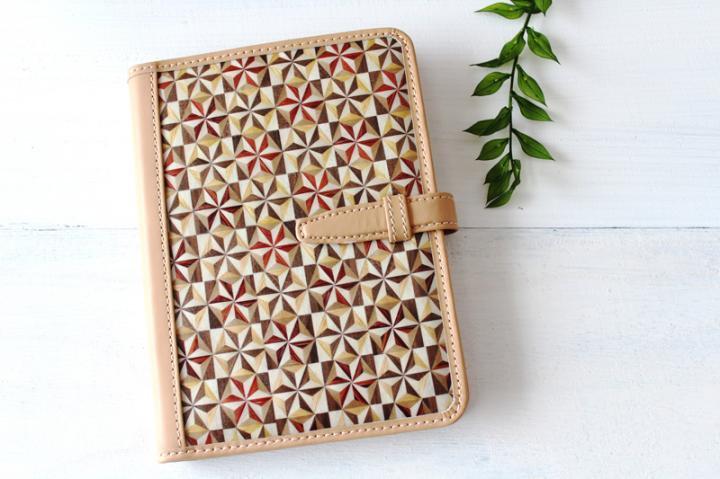 手帳/ブックカバー(A6・文庫フリーサイズ)<六角麻の葉 ナチュラル>