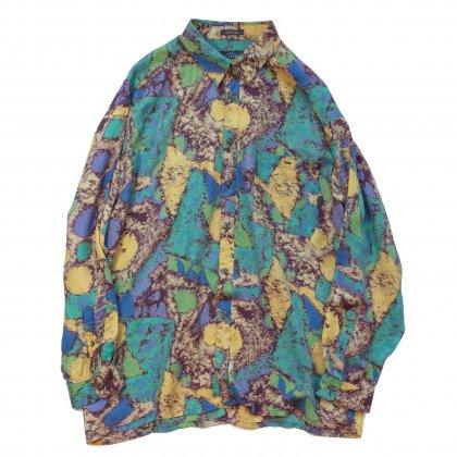 古着 通販 アートプリント シルク L/S シャツ【Abstract Noise】Art Print Shirts
