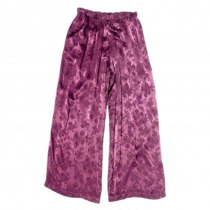 古着 通販 レーヨン サテン イージーパンツ【Bordeaux Flower】Easy Pants