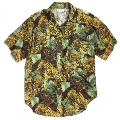古着 通販 ヴィンテージ アートプリント レーヨンシャツ【Leopard Leaf】【1980's】Vintage Art Print Shirts