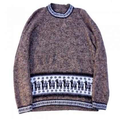 アルパカパターン クルーネック ニット【Mix Color-Real Fur】Vintage Knit