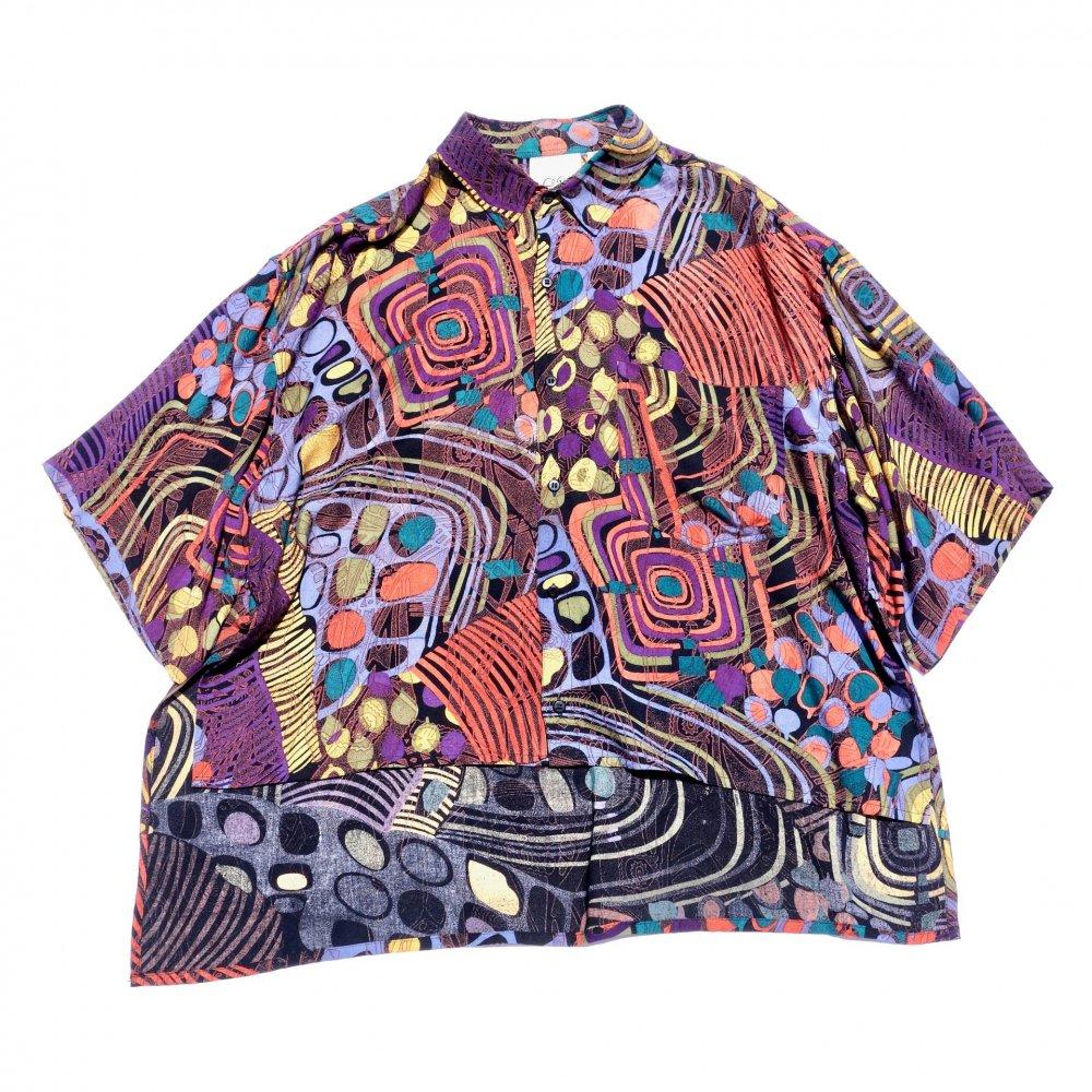 古着 通販 ヴィンテージ S/S レーヨン シャツ【1980's-】ショートレングス リメイク【African Abstract】