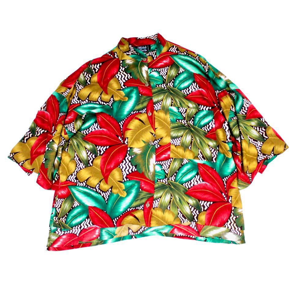 古着 通販 ヴィンテージ S/S レーヨン シャツ【1980's-】ショートレングス リメイク【African Botanical】