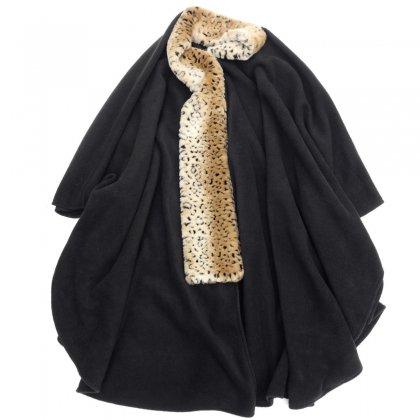 ヴィンテージ フリース ポンチョ【1980's-】【Fake Leopard Fur Collar】