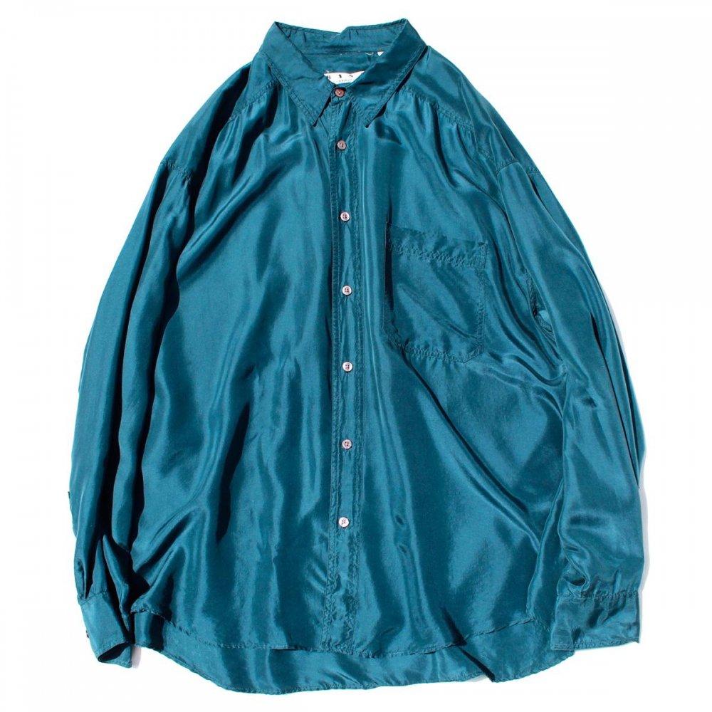 古着 通販 ヴィンテージ  L/S シルク シャツ【1980's-】【BASIX】Turquoise BL