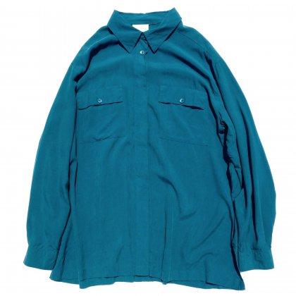 古着 通販 ヴィンテージ  L/S シルク シャツ【1980's-】【CHRISTIE & JILL】Turquoise GRE