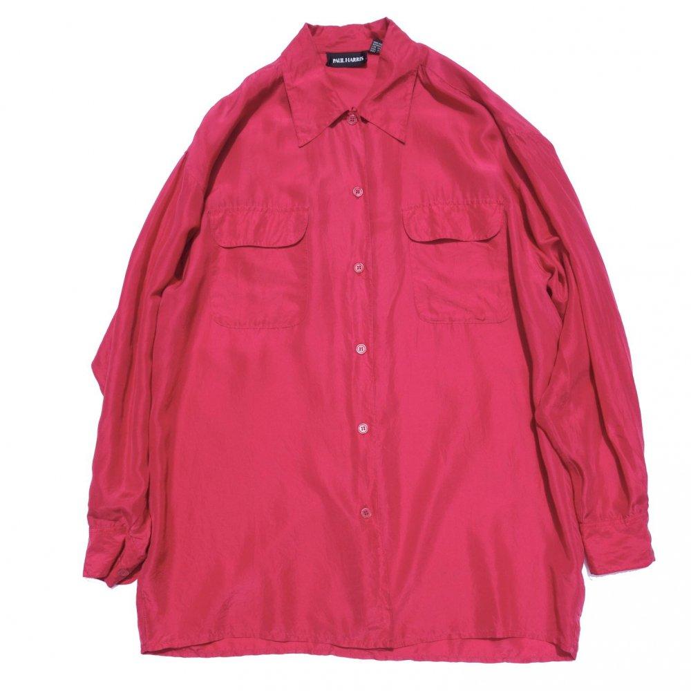 古着 通販 ヴィンテージ  L/S オープンカラー シルク シャツ【1980's-】【PAUL HARRIS】Red Pink