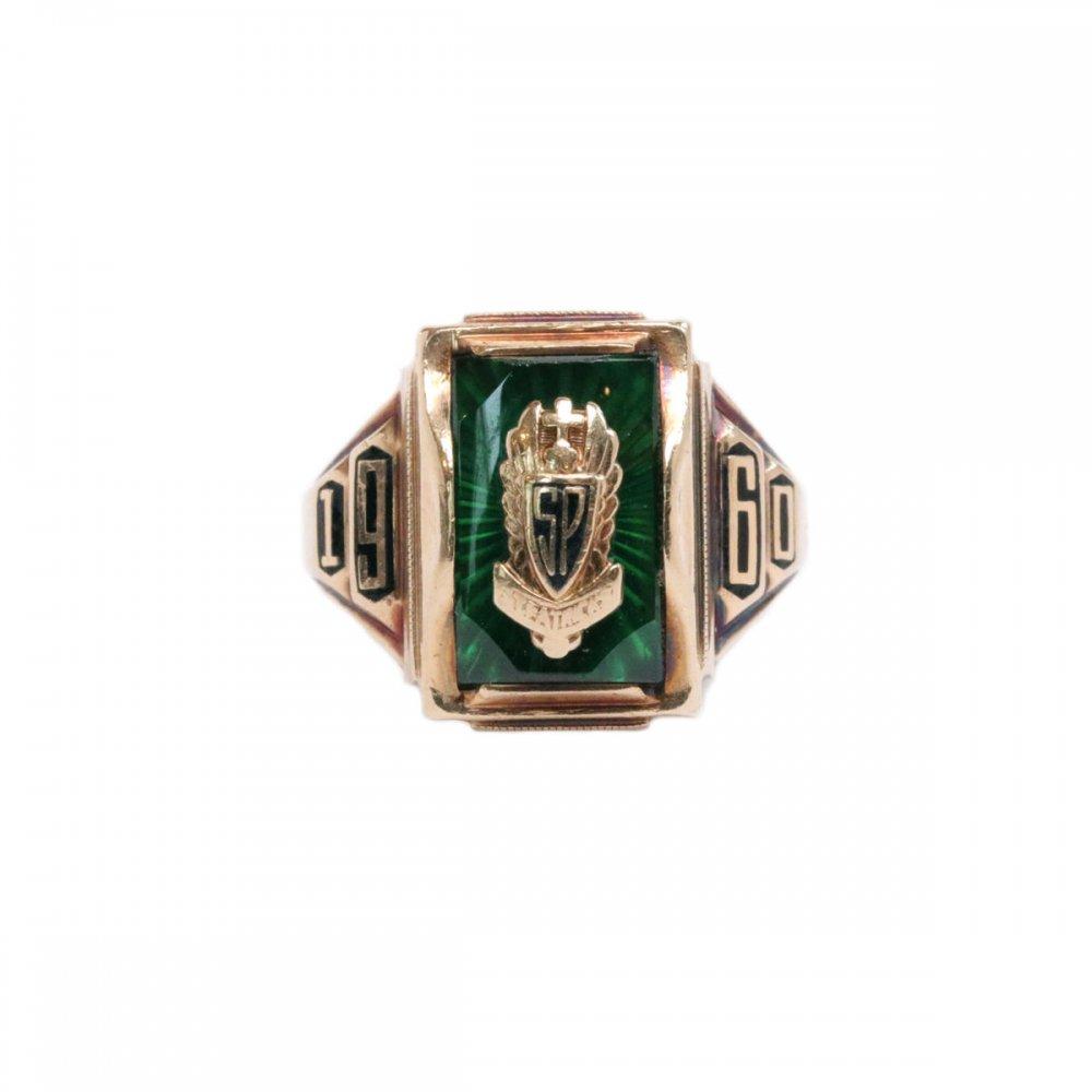 古着 通販 ヴィンテージ スクールリング【1960s】【JOSTEN 10K Gold】Green Top