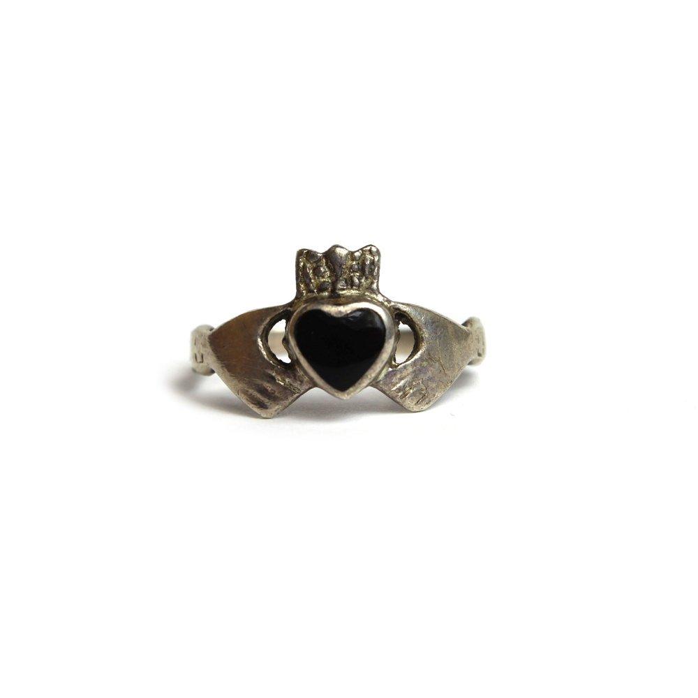 古着 通販 ヴィンテージ クラダーリング【925】【Black Stone】Vintage Claddagh Ring