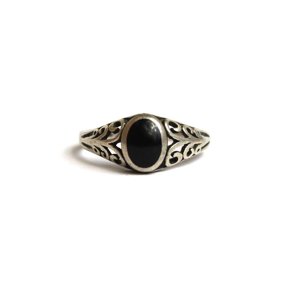 古着 通販 ヴィンテージ ストーンリング【STERLING】【Black Stone】Vintage Ring