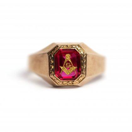 古着 通販 ヴィンテージ フリーメイソン リング【1930s~】【10k GOLD】Red Stone