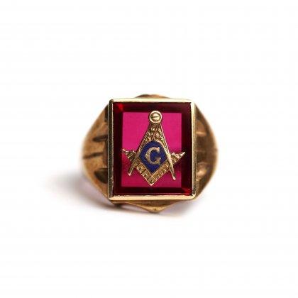 古着 通販 ヴィンテージ フリーメイソン リング【1940s-】【10k GOLD】Red Stone