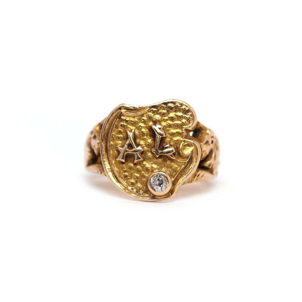古着 通販 アンティーク ライオン デザイン シグネット リング【1800s~ Victorian】【14k Gold & Diamond】