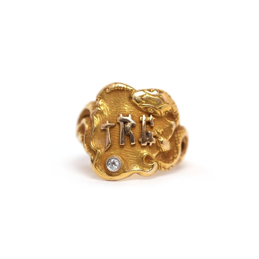 古着 通販 アンティーク スネーク デザイン シグネット リング【1800s~ Victorian】【Mement Mori】【14k Gold】