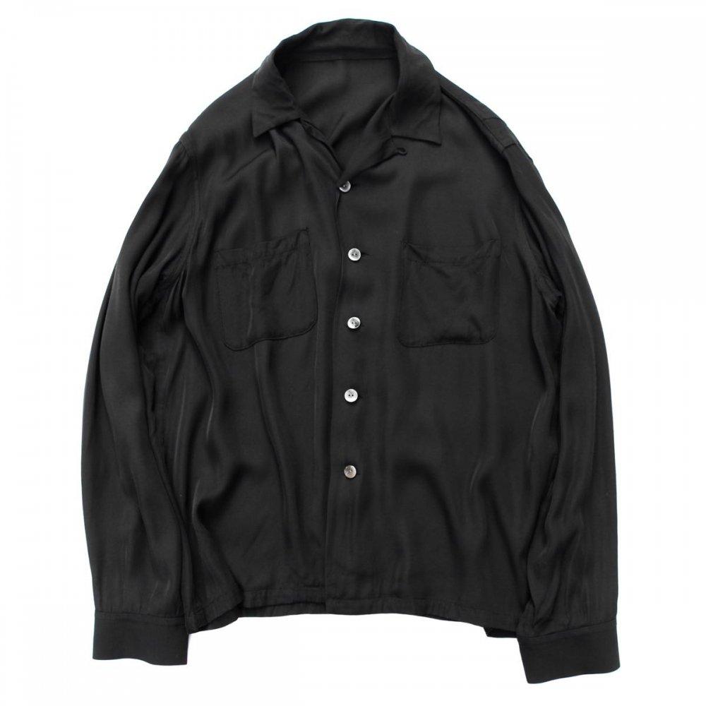 古着 通販 ピンプスティック【pimpstick】レーヨン オープンカラーシャツ BK