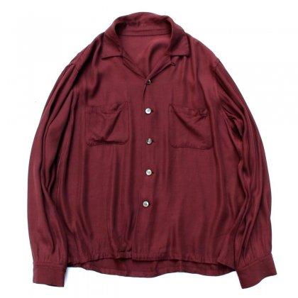 古着 通販 ピンプスティック【pimpstick】レーヨン オープンカラーシャツ BUR