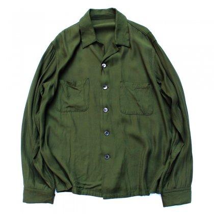 古着 通販 ピンプスティック【pimpstick】レーヨン オープンカラーシャツ OLV
