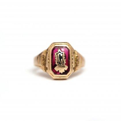 古着 通販 ヴィンテージ カレッジリング【Balfour 10kt Gold】【1946s-】Red Top & GLD Emblem
