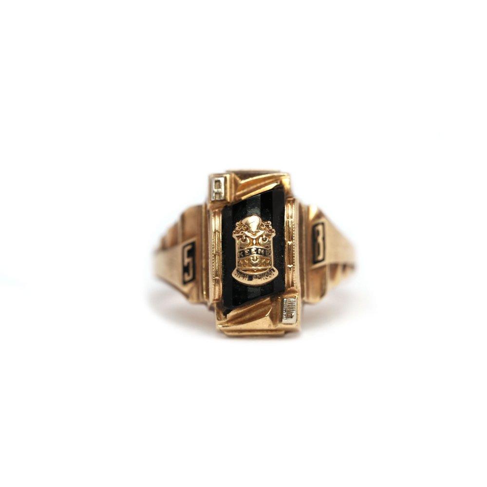 古着 通販 ヴィンテージ カレッジリング【JOSTEN 10kt Gold】【1958s-】Onix Top & GLD Emblem
