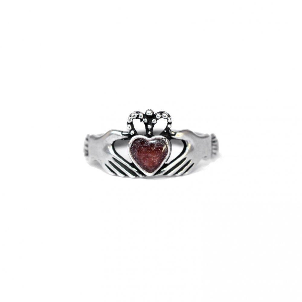 古着 通販 ヴィンテージ クラダーリング【925】【Pomegranate Stone】Vintage Claddagh Ring