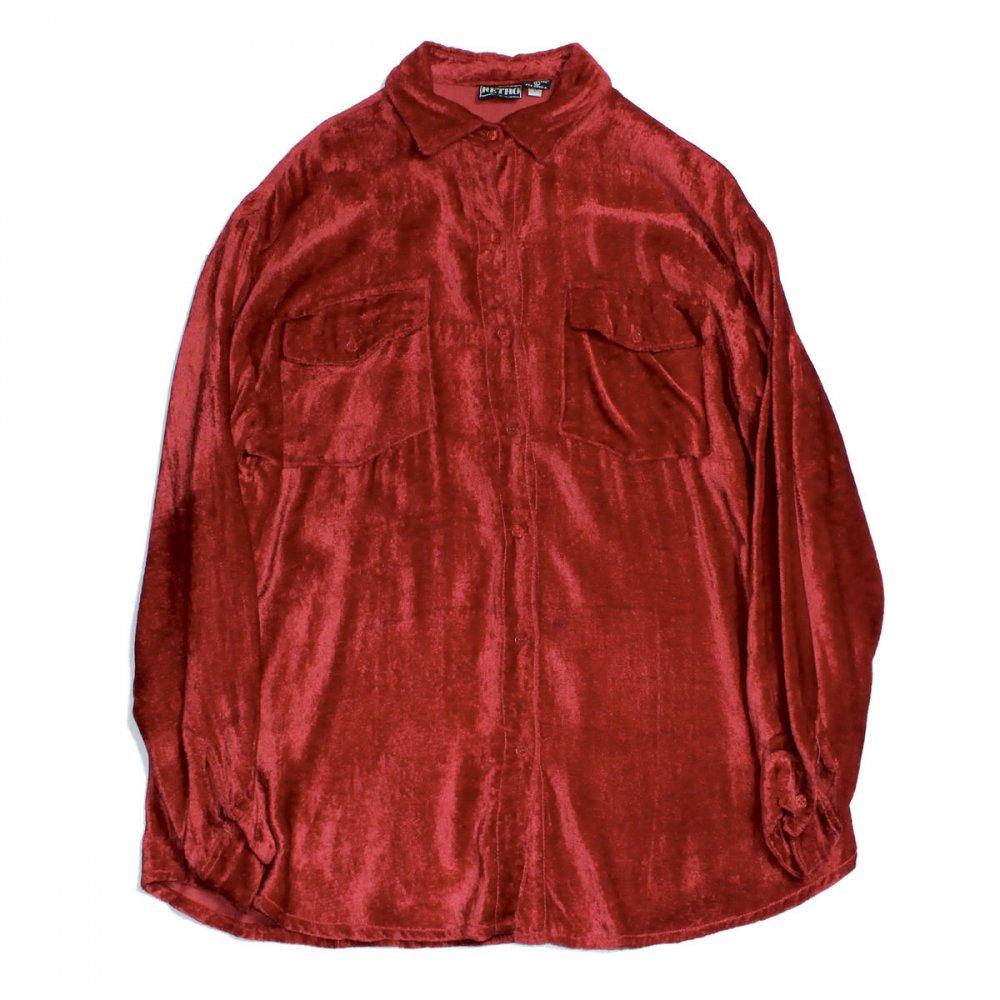 古着 通販 ヴィンテージ ベルベット L/S ドレスシャツ【RETRO】【1980's-】Acid Red