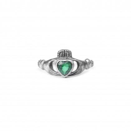 古着 通販 ヴィンテージ クラダーリング【925】【Green Stone】Vintage Claddagh Ring