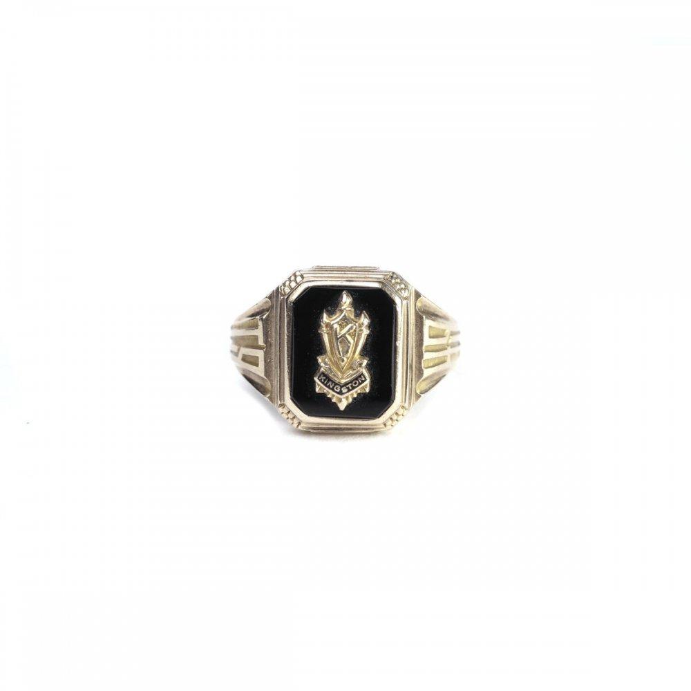 古着 通販 ヴィンテージ カレッジリング【JOSTEN 10kt Gold】【1949s-】Onix Top & GLD Emblem