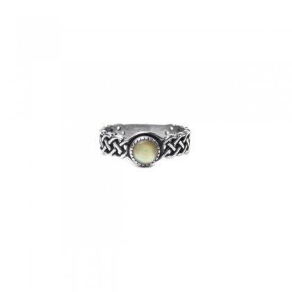 ヴィンテージ シルバー ストーン リング【925-STERLING】【Yellow Stone】チェーン デザイン