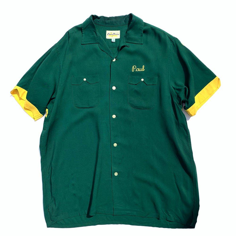 古着 通販 ヴィンテージ ボーリング シャツ【Crown Prince】【1960's-】グリーン