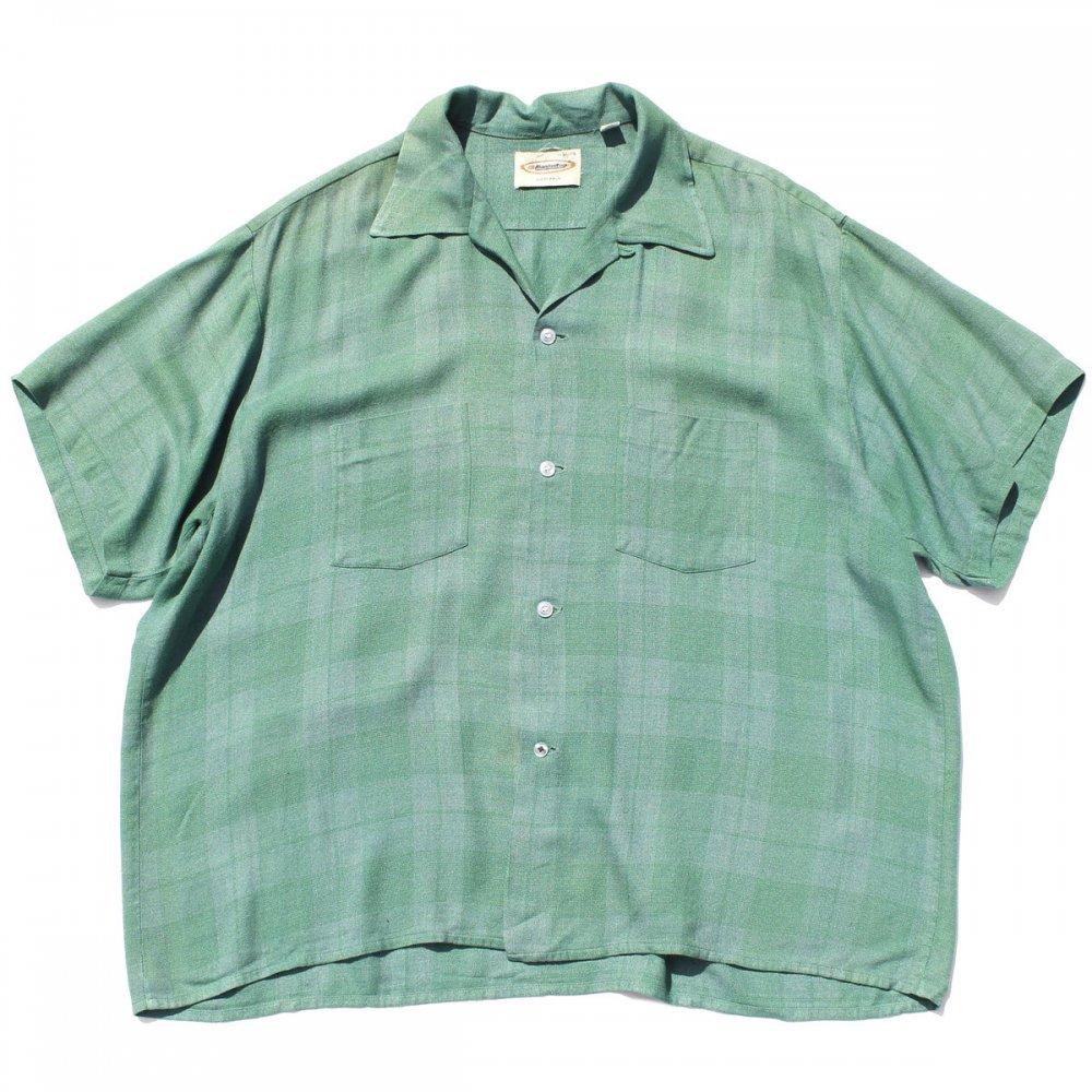 古着 通販 ヴィンテージ S/S ループ カラー レーヨン シャツ【Manhattan】【1960's-】 ミントグリーン