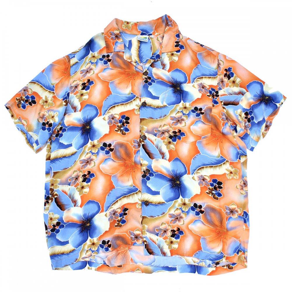 古着 通販 ヴィンテージ アートプリント レーヨン アロハ シャツ【Makai Beach】【1980's-】OR Flower
