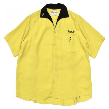 古着 通販 ヴィンテージ ボーリングシャツ【King Louie】キングルイ 【1960's-】Yellow × BK