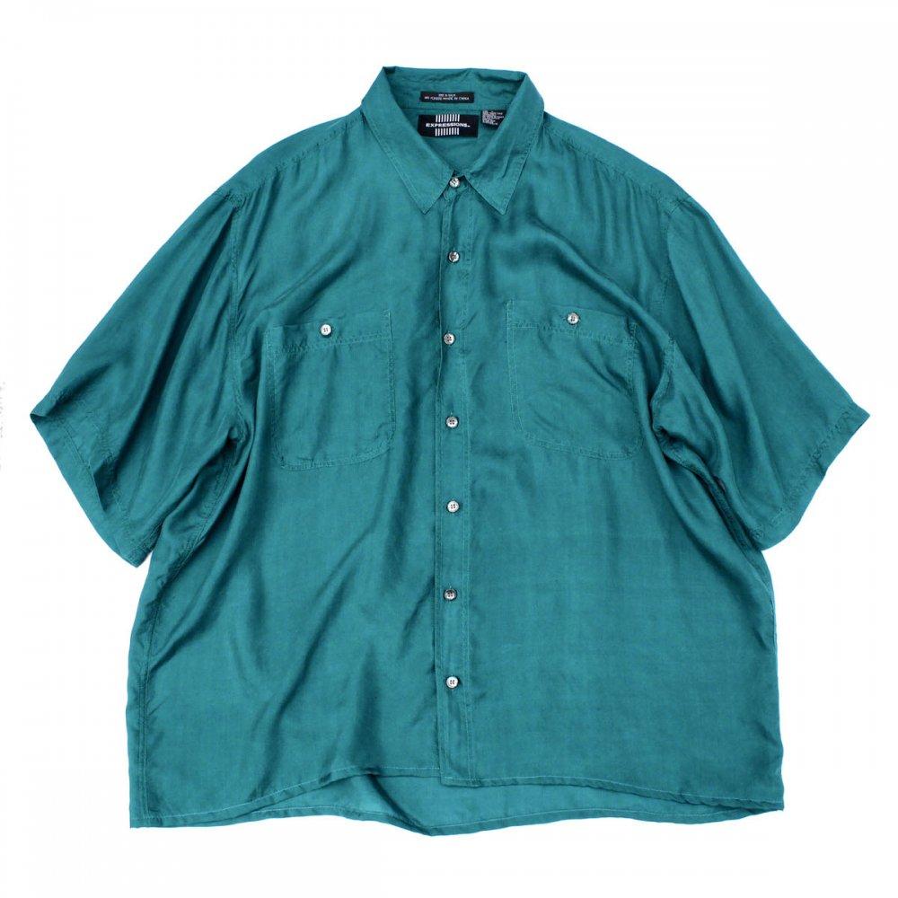 古着 通販 ヴィンテージ S/S シルク シャツ【EXPRESSIONS】【1980's-】Turquoise