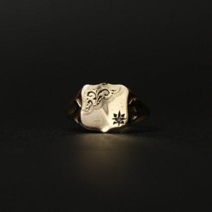 古着 通販 ヴィンテージ シグネット リング【Made in ENGLAND】【375 - 9ct Gold × Diamond】