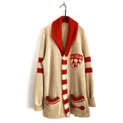 古着 通販 ヴィンテージ ショールカラー レタードカーディガン【1940's】Vintage Shawl Collar Lettered Cardigan