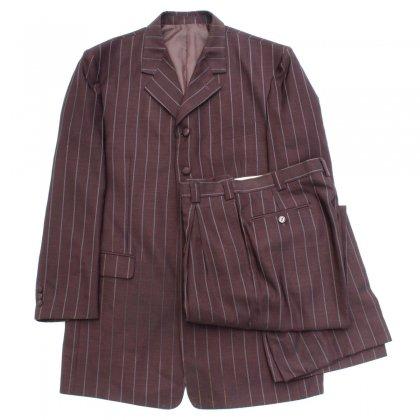 古着 通販 ヴィンテージ ズート スーツ セットアップ【Falcone】【1980's-】バーガンディ ストライプ