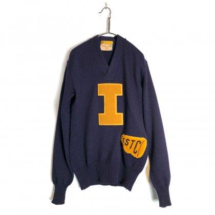 古着 通販 ヴィンテージ Vネック レタードニット【1950's】Vintage V-neck Lettered Sweater