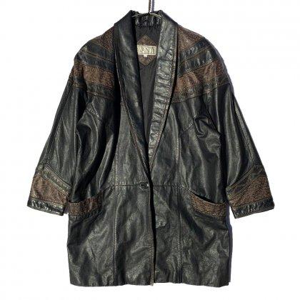 古着 通販 ヴィンテージ ショールカラー レザーコート【1980s】Vintage Shawl Collar Leather Coat