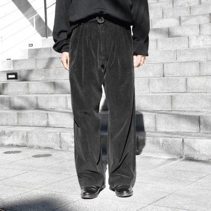 古着 通販 ピンプスティック【pimpstick】タック リメイク コーデュロイ ワイド トラウザーズ BK (W32)