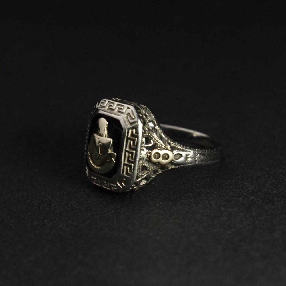 古着 通販 ヴィンテージ カレッジリング【14kt White Gold】【1928's-】アールデコ Onyx Top & GLD Emblem
