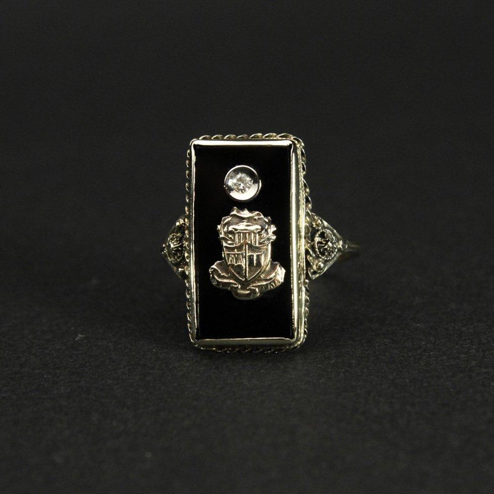 古着 通販 ヴィンテージ カレッジリング【10kt~ Gold】【1920's-】アールデコ Onyx Top & GLD Emblem & Diamond