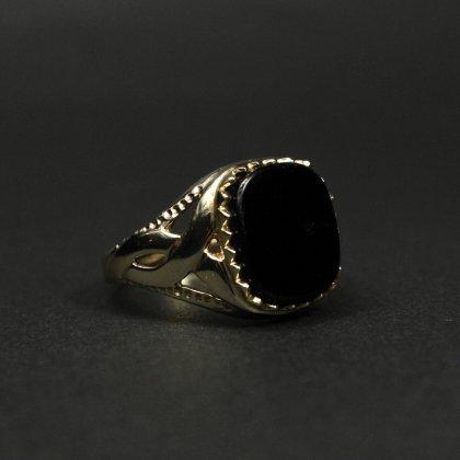 古着 通販 ヴィンテージ シグネット リング【Made in ENGLAND】【375 9ct Gold × Onyx Square Top】Celtic knot